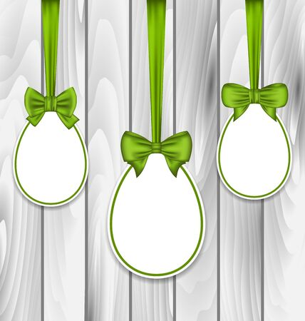 pascua: Illustration Easter three papers eggs wrapping green bows on grey wooden background - vector