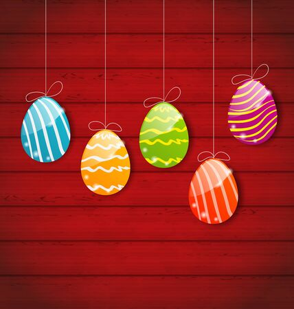 pascua: Illustration Easter three ornamental colorful eggs on wooden background - vector