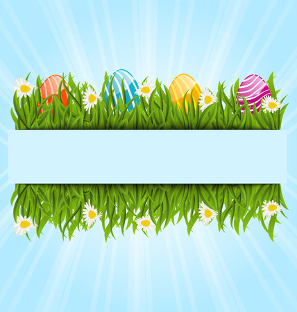 Ostern: Illustration Easter colorful eggs and camomiles in green grass with space for your text - vector