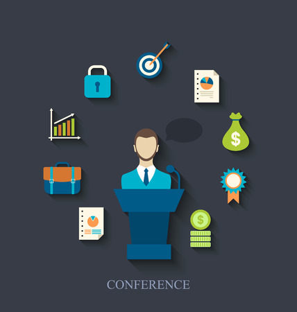 orator: Illustration orator speaking from tribune and flat icons of business conference - vector