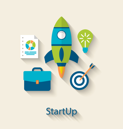 booster: Illustration concept of new business project startup development, flat icons with long shadows style - vector