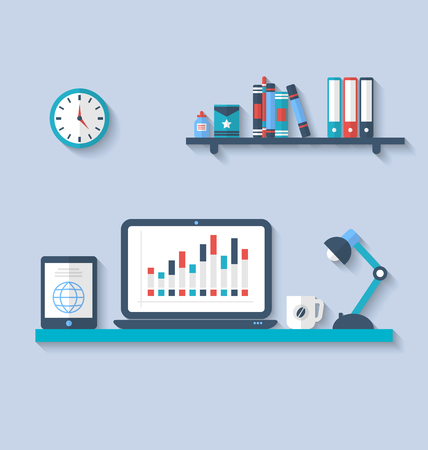 interior designer: Illustration flat icon of modern office interior with designer desktop, application with interface objects and elements in simple style, long shadows - vector Illustration