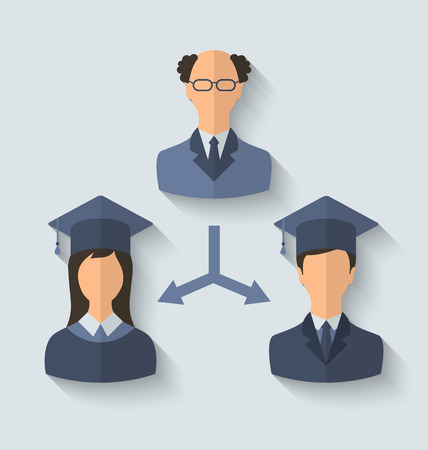 graduated: Illustration flat icons of teacher and his students have graduated from the University, long shadow style - vector