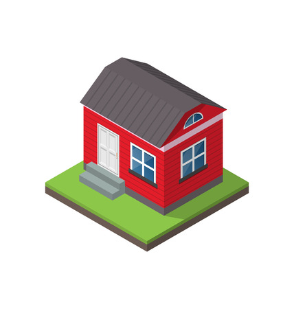 Illustration residential isometric house isolated on white background - vector Vector