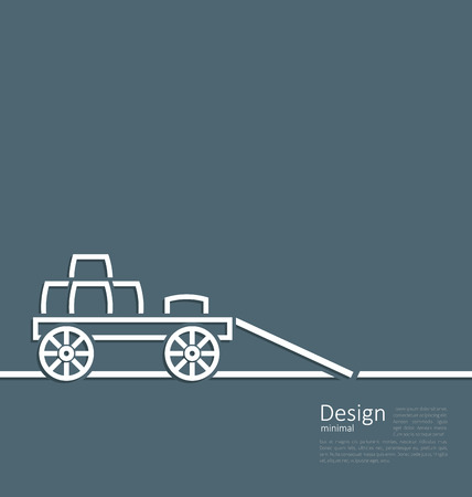 trundle: Freight wagon cartage loaded with wine casks, minimal design style - vector Illustration