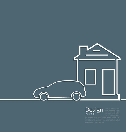 parking car: Web template house and parking car icon in minimal flat style cleaness line - vector Illustration