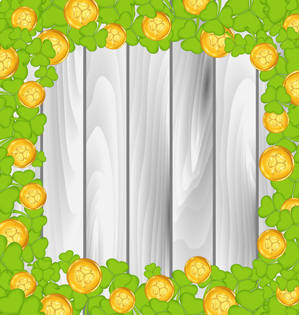 Illustration border with shamrocks and golden coins for St. Patricks Day, grey wooden background - vector Vector