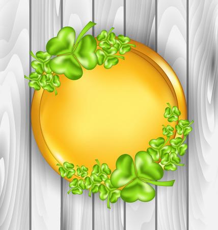 shamrock clover leaf: Illustration golden coin with shamrocks. St. Patricks day symbol, wooden texture - vector
