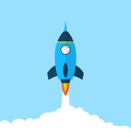 Illustration flat icon of rocket with long shadow style, startup concept - vector Illustration