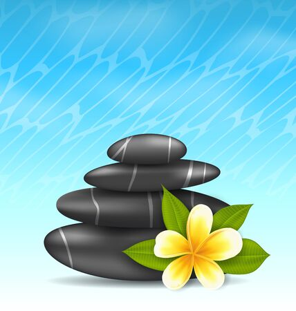 stacked stones: Illustration natural background with frangipani flower (plumeria) and pyramid zen spa stones - vector