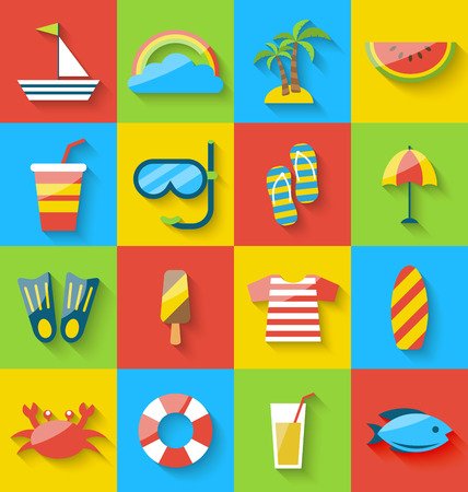 watermelon boat: Illustration flat icons of holiday journey, summer symbols, sea leisure, colorful minimalist icons with long shadow - vector