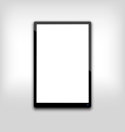 Illustration  black tablet pc computer blank white screen with light on blue led - vector Vector
