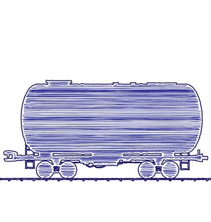 cisterna: Ilustraci�n de petr�leo vag�n cisterna del ferrocarril del tren de carga, transporte icono de dibujo a mano la tinta del estilo de la pluma - aislada en blanco - vector Vectores