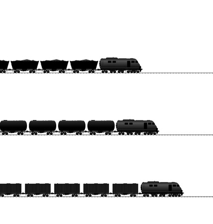 cisterns: Illustration three train with powered locomotive, cisterns oil, coal freight wagons, container wagons on railroad ways (black icons transportation isolated on white) - vector