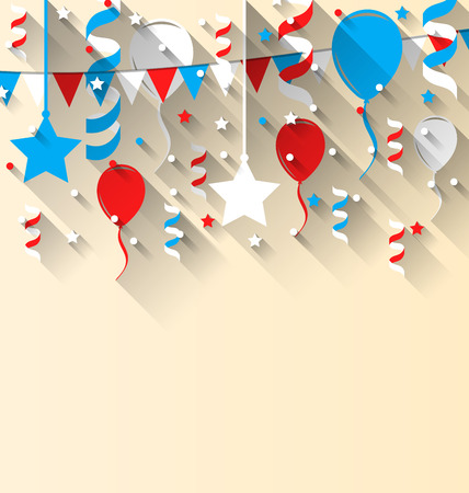 streamer: Illustration American patriotic background with balloons, streamer, stars and pennants, in US national colors. Wallpaper for Independence day, trendy flat style with long shadow style - vector Illustration