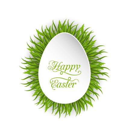 pascua: Illustration Happy Easter paper card in form egg with green grass - vector Illustration