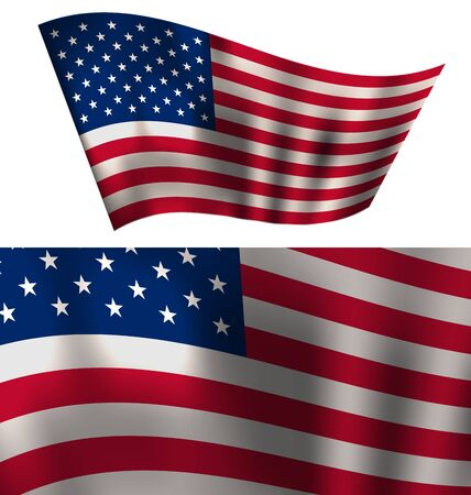 president of the usa: Flags USA Waving Wind Red White Blue Stars and Stripes for Independence Day 4th of July President Day Washington Day US Labor Day Patriotic Symbolic Decoration for Holiday or Celebration Backgrounds Close-up Isolated - Vector