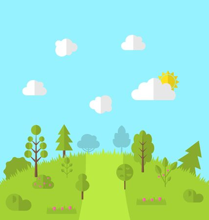 paysage: Landscape woods valley hill forest land scene view background -  vector