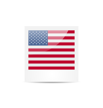 national colors: Illustration photo frame in US national colors for Independence Day, isolated on white background - vector