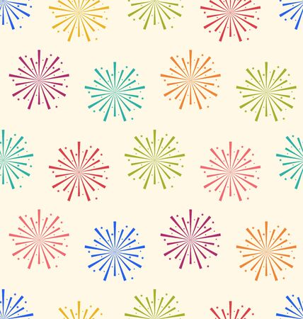 Illustration Seamless Pattern Colorful Firework for Holiday Celebration Events - Vector Vector