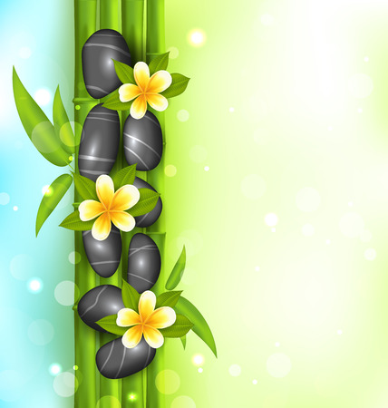 bamboo therapy: Illustration spa therapy background with bamboo, stones and frangipani flowers (plumeria) - vector