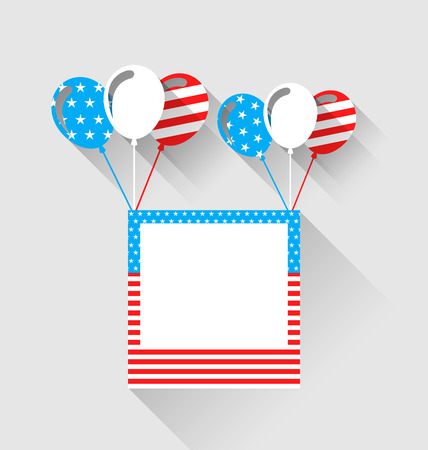 Illustration photo frame and balloons in US national colors, long shadow style - vector Illustration