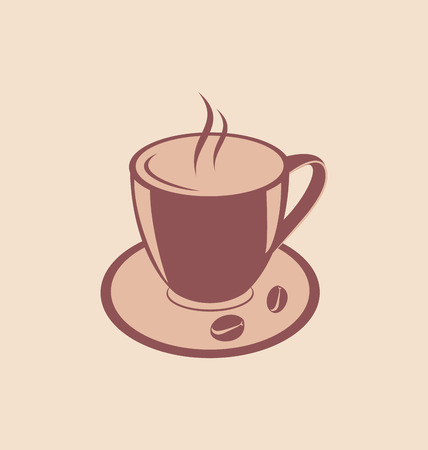 encasement: Illustration Cup of Aromatic Coffee and Beans on Saucer, Vintage Style - vector