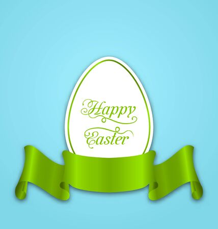 pascua: Illustration label with ribbon as Easter paper egg - vector