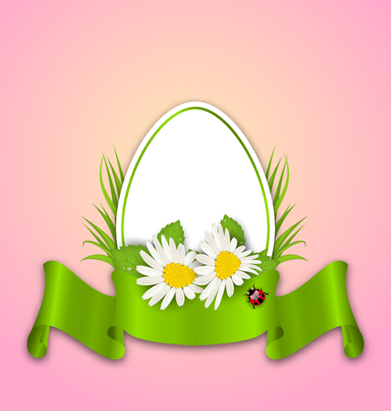 pascua: Illustration Easter paper egg with flowers daisy, grass, butterfly and ribbon - vector