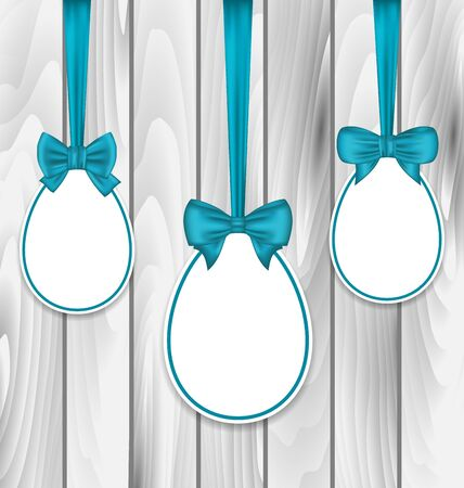 pascua: Illustration Easter paper eggs wrapping blue bows on wooden grey background - vector Illustration