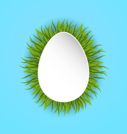 Illustration Happy Easter paper card in form egg with green grass, copy space for your text - vector