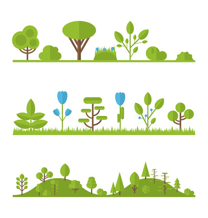 Illustration collection set flat icons tree, pine, oak, spruce, fir, garden bush isolated on white - vector