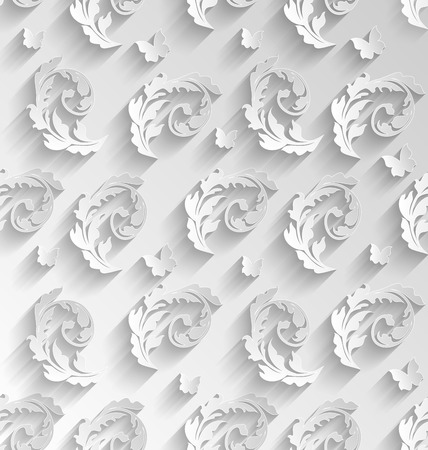 Illustration Paper Cut Seamless Pattern with Floral Elements and Butterflies, Elements with Shadows - Vector