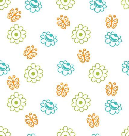 eleg�ncia: Ilustra��o sem emenda da textura com flores e borboletas, Eleg�ncia Padr�o - Vector