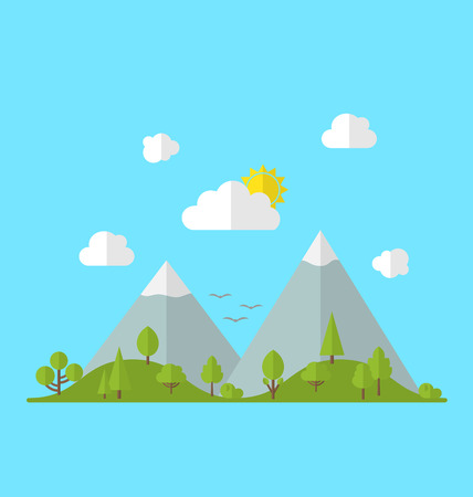 valley: Landscape woods valley hill forest land scene view background -  vector