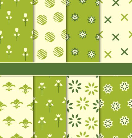 Illustration Collection of 8 Seamless Abstract Floral Ecologic Pattern - Vector Vector