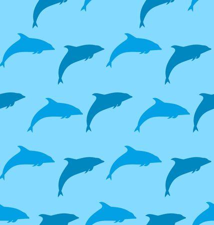 zoogdier: Illustratie naadloze patroon met Dolphin, Marine Mammal Dier - Vector Stock Illustratie