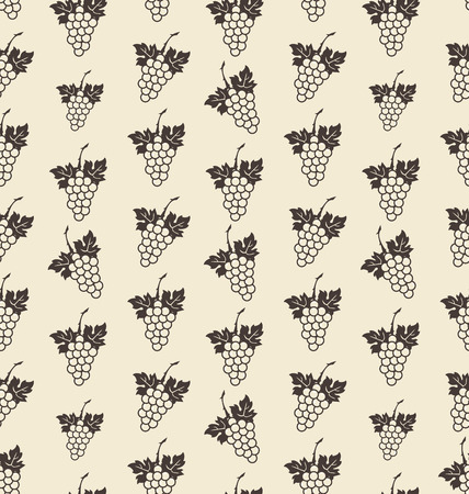 Illustration Seamless Texture with Bunch of Grape, Vintage Pattern - Vector Vector