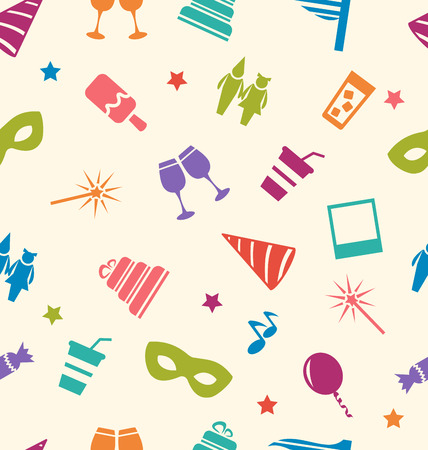 birthday hat: Illustration Seamless Pattern of Party Colorful Icons, Wallpaper for Holidays - Vector
