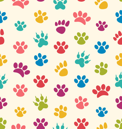 imprints: Illustration Seamless Texture with Traces of Cats, Dogs. Imprints of Paws Pets - Vector