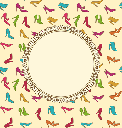 Illustration Greeting Card or Invitation with Women Shoes. Seamless Texture of Fashion Heeled - Vector Vector
