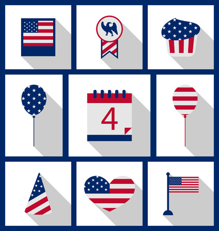symbolic: Icons Set USA Flag Color Independence Day 4th of July Patriotic Symbolic Decoration for Holiday or Celebration Backgrounds - Vector
