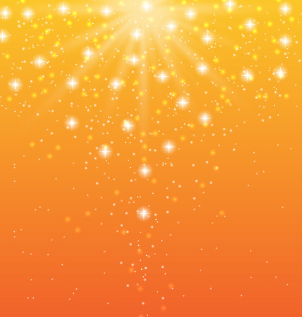 blinding: Illustration abstract orange background with sun rays and shiny stars