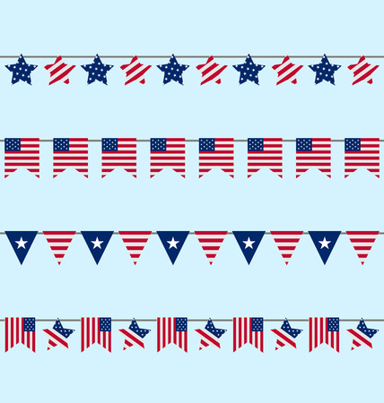 independencia: Ilustración Hanging Bunting gallardetes para Día de la Independencia EE.UU., decoración simbólica Patriótica para vacaciones