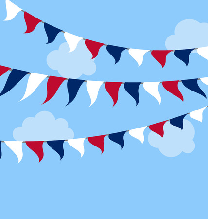 president of the usa: Flags USA Set Bunting Red White Blue for Independence Day 4th of July, President Day, Washington Day, US Labor Day Stock Photo