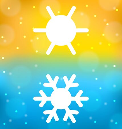 cosiness: Illustration abstract background with symbol of climate balance - sun and snowflake Stock Photo