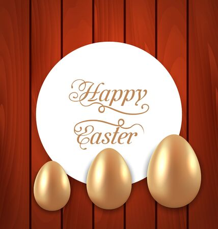 Illustration celebration card with Easter golden eggs on wooden red background