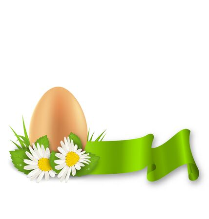 Illustration traditional Easter egg with flowers daisy, grass and ribbon illustration