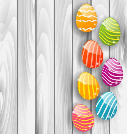 pascua: Illustration Easter glossy colorful eggs on grey wooden texture Stock Photo