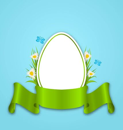 pascua: Illustration Easter paper egg with flowers daisy, grass, butterfly and ribbon Stock Photo